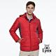 【Lynx Golf】男款防潑水防風保暖科技羽絨Lynx印花連帽可拆式長袖外套-紅色 product thumbnail 1