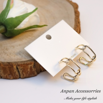 【ANPAN愛扮】韓南大門閃亮簍空相間環圈925耳釘式耳環-金銀可選