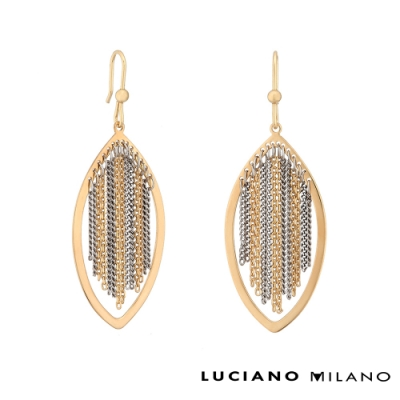 LUCIANO MILANO 葉形純銀耳環(金色+K色/玫瑰金色+K色)