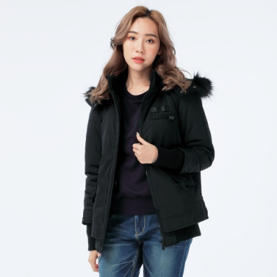 BIG TRAIN 羅紋毛裡連帽鋪棉外套-女-黑