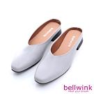 bellwink-圓方頭皮革穆勒拖鞋-灰-b1005gy