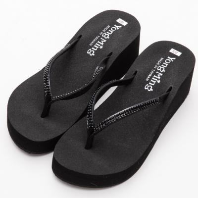 River&Moon拖鞋 台灣製人字排鑽Q軟夾腳厚底涼鞋 黑鑽