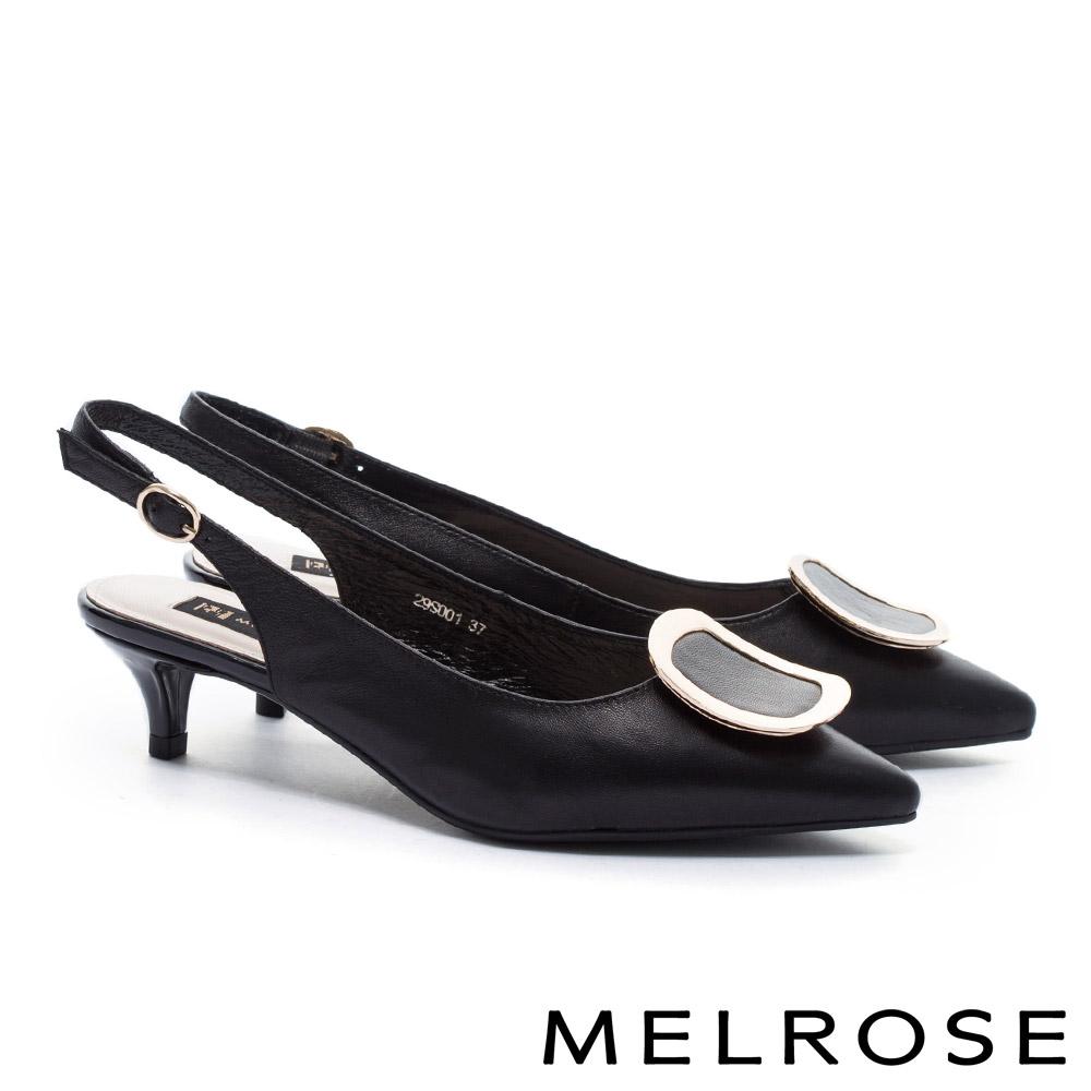 高跟鞋 MELROSE 簡約質感弧形金屬方釦羊皮尖頭高跟鞋-黑
