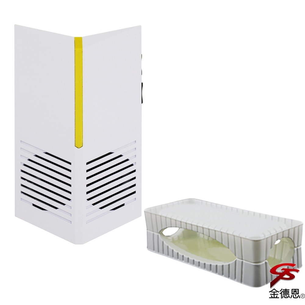 金德恩 台灣製造 神盾型防潮磁震超音波物理驅逐驅鼠器+3D超黏力捕鼠盒