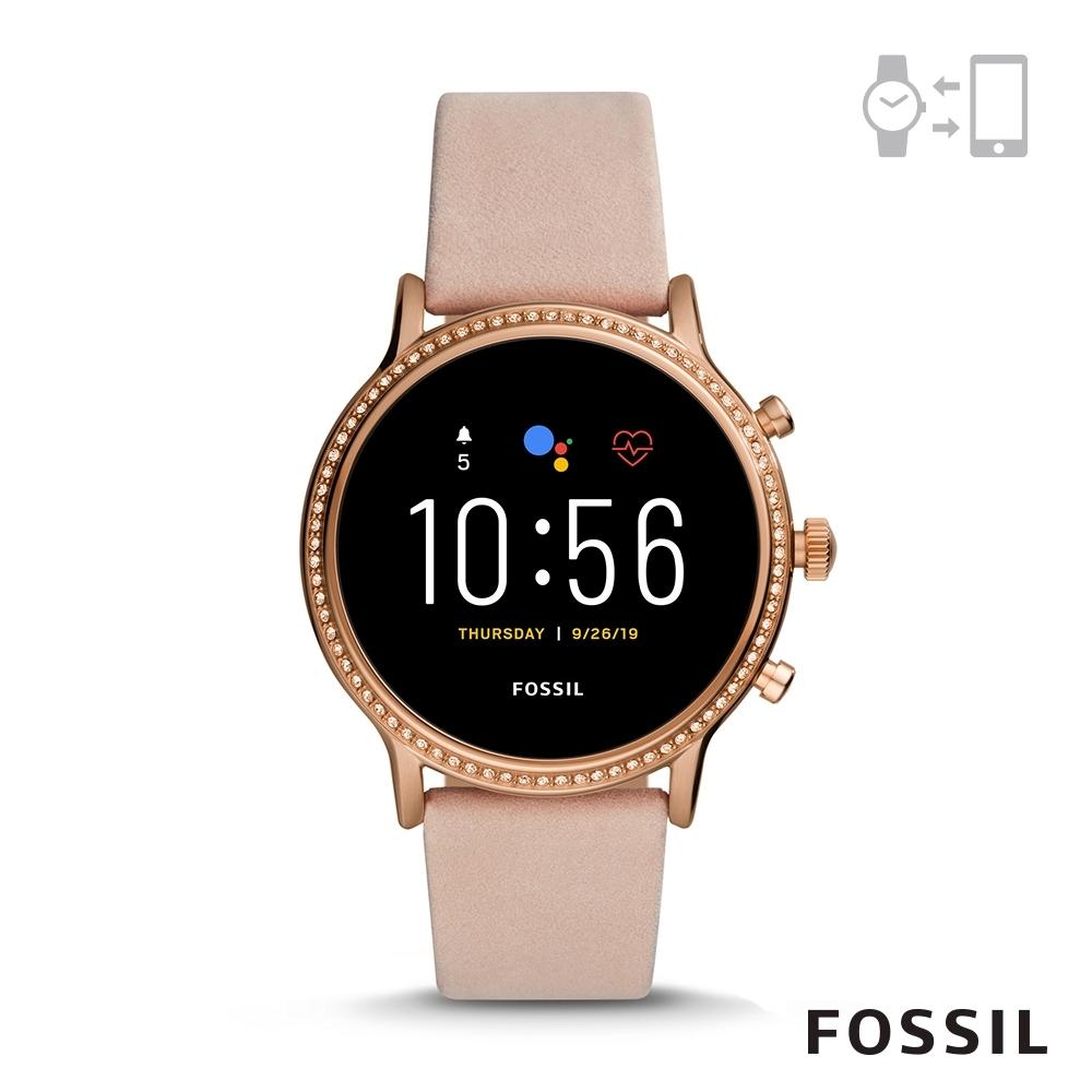 FOSSIL GEN 5智能錶 茱莉安娜HR-粉色皮革手錶44MM FTW6054