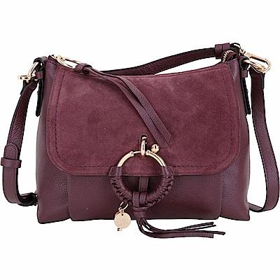 SEE BY CHLOE Joan 小型 編織金屬圈拼接皮革兩用包(紫紅色)