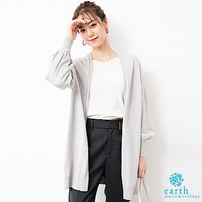 earth music 長版蓬袖落肩開襟罩衫