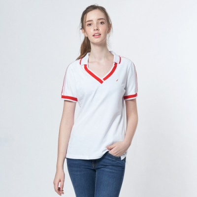 Nautica女裝V領造型短袖POLO衫-白