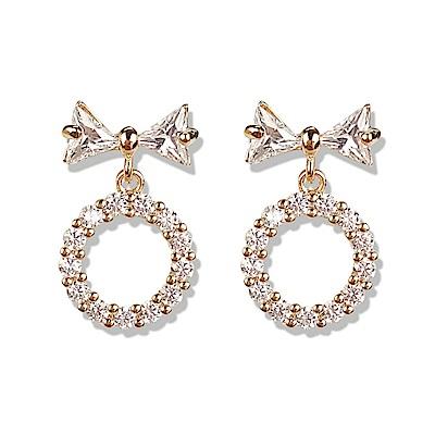 梨花HANA  韓國S925銀金秘書為何那樣微鑲鑽小蝴蝶結耳環