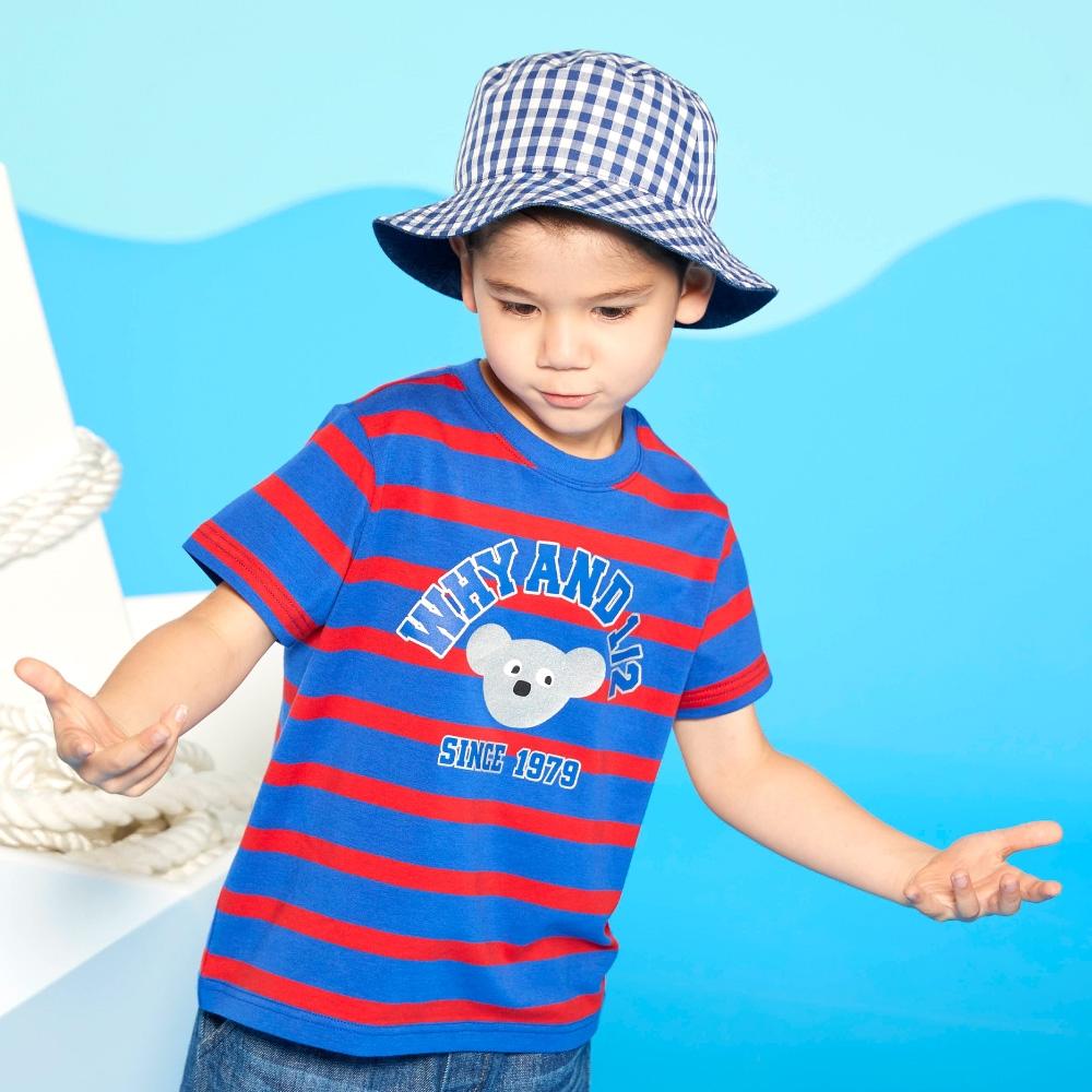 WHY AND 1/2 條紋棉質萊卡T恤-親子裝 5Y ~ 10Y (藍色)