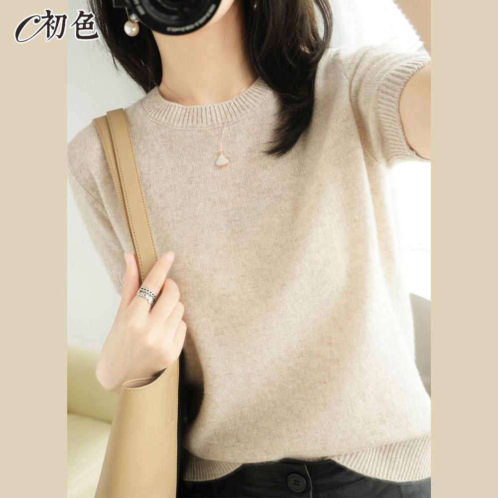 初色  圓領短袖針織衫-共8色-(M-2XL可選) product image 1