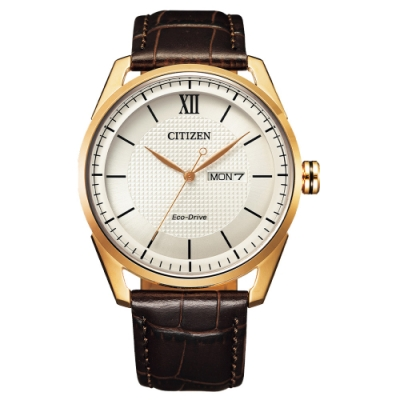 CITIZEN GENT S 光動能英倫紳士時尚腕錶-玫瑰金X咖啡-AW0082-19A-42mm