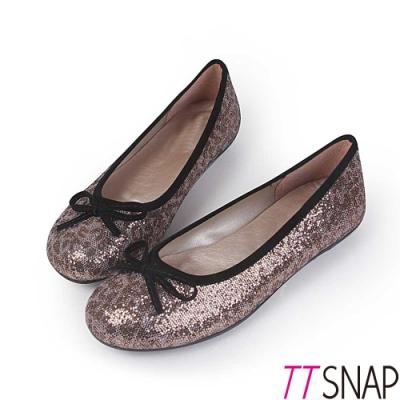 TTSNAP娃娃鞋-MIT全真皮 晶耀蝴蝶結柔軟Q平底鞋 亮片咖