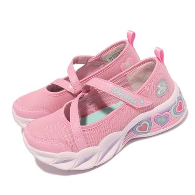 Skechers 休閒鞋 S Lights 愛心燈鞋 發光 童鞋 瑪莉珍鞋 輕量 避震 緩衝 魔鬼氈 粉 白 302303 LPNK