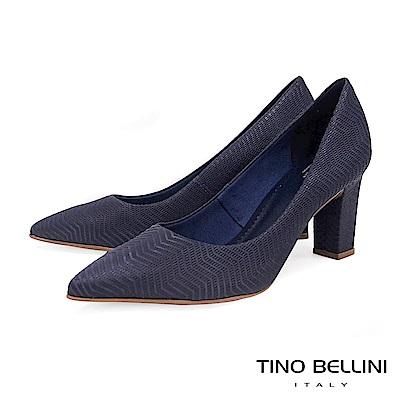 Tino Bellini 巴西進口幾何形象波浪線條尖楦跟鞋 _ 藍