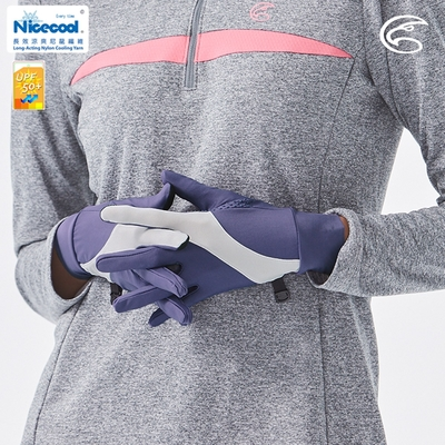 ADISI NICE COOL 吸濕涼爽透氣抗UV可觸控手套 AS21007【繡球紫】(UPF50+、涼感、防曬手套)