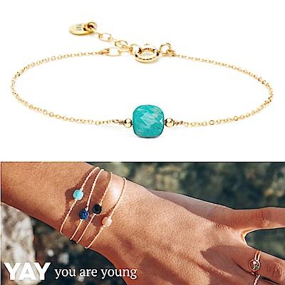 YAY You Are Young 法國品牌 Riviera 土耳其藍孔雀石手鍊 金色方形