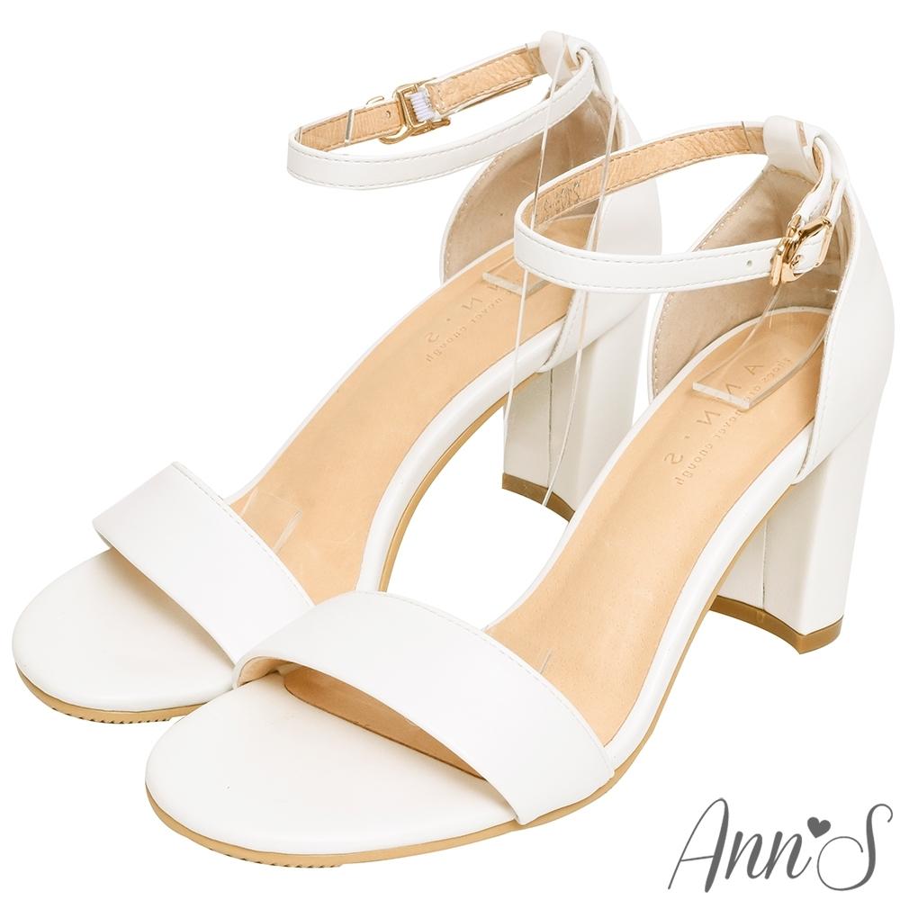 Ann'S不踩雷美腿製造機一字帶涼鞋-寬帶8公分高跟-白