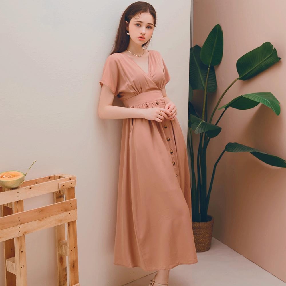 AIR SPACE LADY 法式優雅V領排釦開衩洋裝(藕粉)