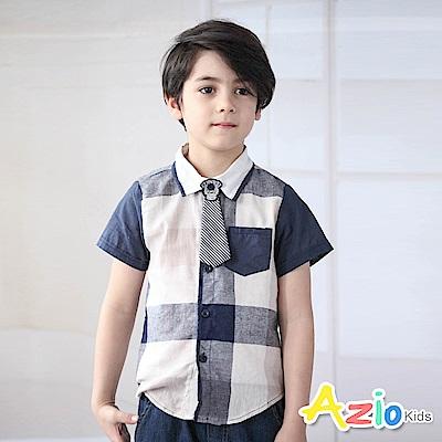 Azio Kids  上衣 學院風格紋單口袋短袖襯衫(藍)