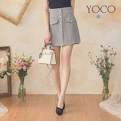 東京著衣-YOCO 名媛時尚珍珠鈕扣格紋假口袋A字裙-S.M.L(共兩色)