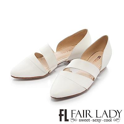 Fair Lady 有一種喜歡是早秋-鏤空剪裁皮革尖頭平底鞋 白