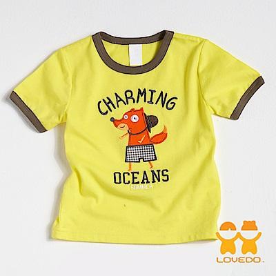 【LOVEDO-艾唯多童裝】歡樂小狐狸 拼布式短袖T恤 (黃)