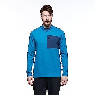【HAKERS 哈克士】男 保暖立領半開襟排汗衣(威尼斯藍)