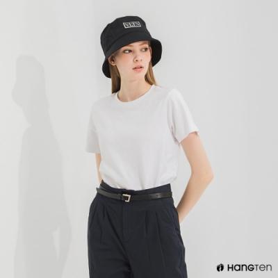 Hang Ten-女裝-環保纖維厚磅織標短袖T恤-白色