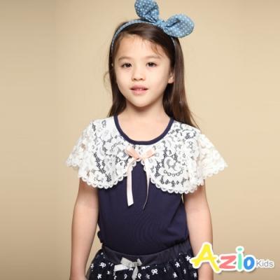Azio Kids 女童 上衣 領口蕾絲造型蝴蝶結短袖上衣(藍)