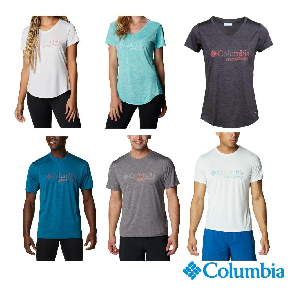 Columbia 哥倫比亞 男女 款- 野跑 UPF15 快排短袖上衣-6款 (女款 - 白色)