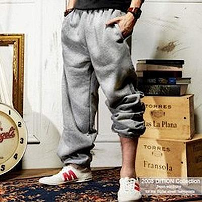 美式寬版 運動休閒素面刷毛棉褲 健身