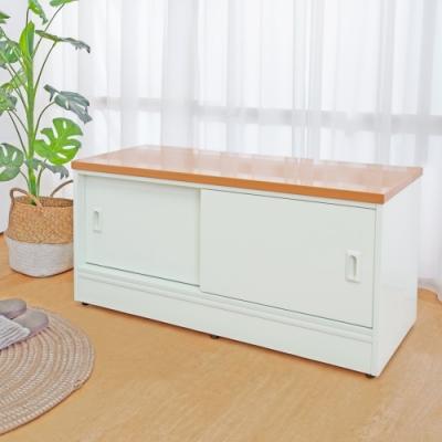 Birdie南亞塑鋼-3尺二推/拉門防水塑鋼坐式鞋櫃/座鞋櫃/收納穿鞋椅(木紋色+白色)-90x41x45cm