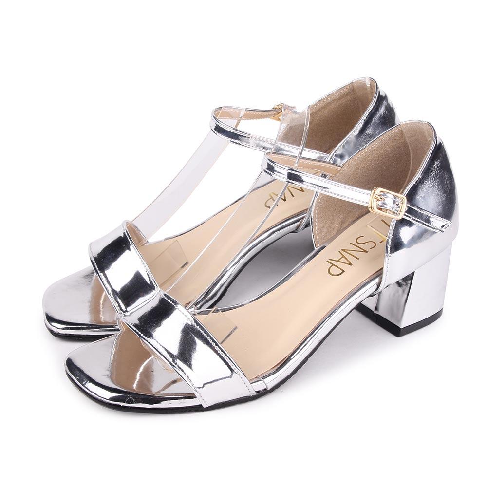 TTSNAP涼鞋-簡約顯瘦瑪莉珍中跟涼鞋 銀