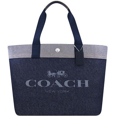 COACH 星夜藍色厚織帆布托特包-大型