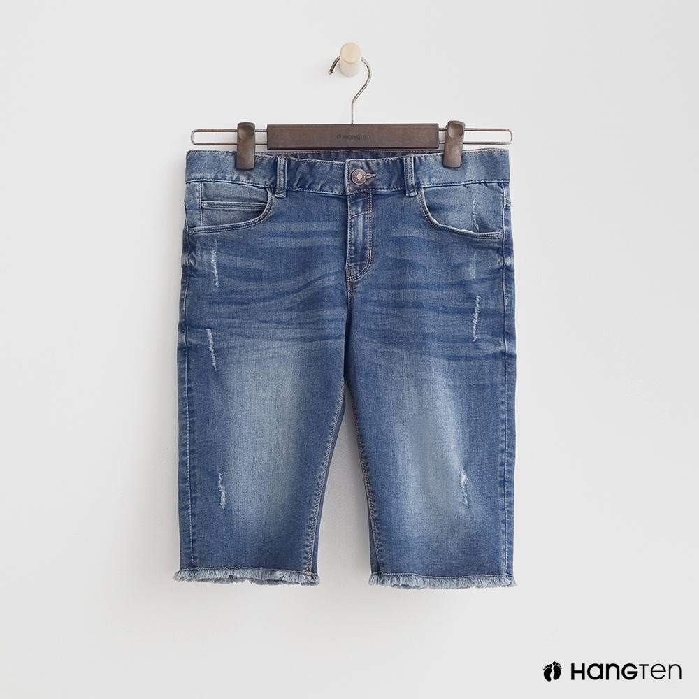 Hang Ten-女童-率性牛仔短褲-深藍