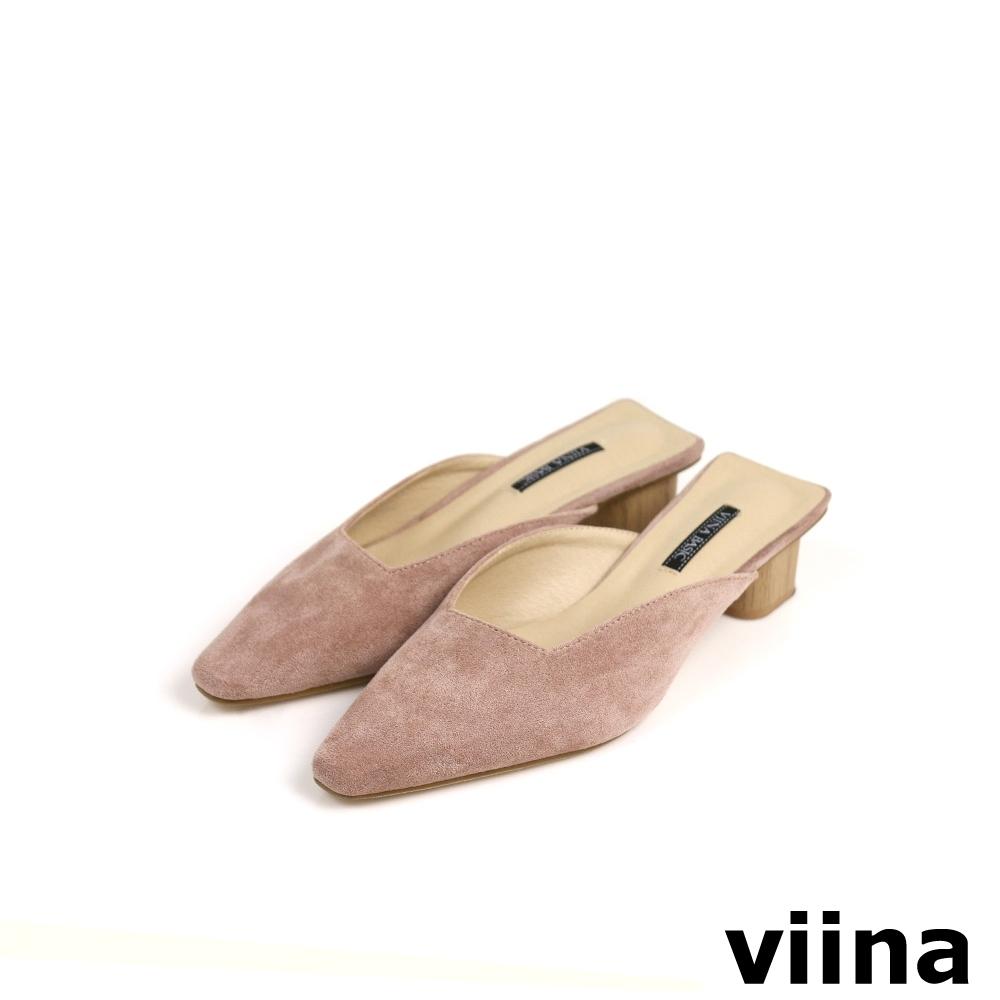 viina Basic 素面尖頭木紋跟型穆勒鞋 - 粉