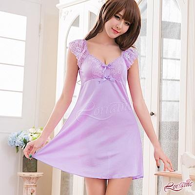 性感睡衣 甜美紫羅蘭小蓋袖柔緞睡衣(淺紫F) Lorraine