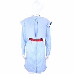 Karl Lagerfeld 藍白條紋設計感襯衫式洋裝(附字母腰帶