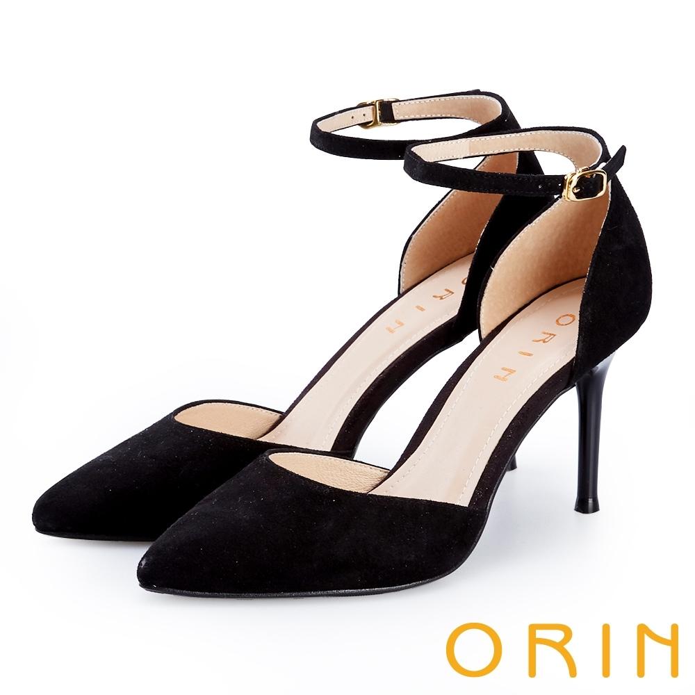 ORIN 羊皮繫踝繞帶尖頭高跟鞋 黑色