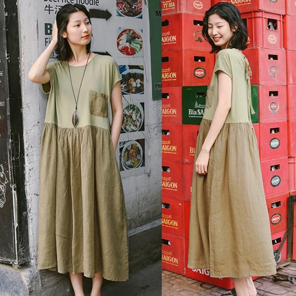 洋裝-全棉拼接亞麻橄欖綠棉麻寬鬆長裙-設計所在
