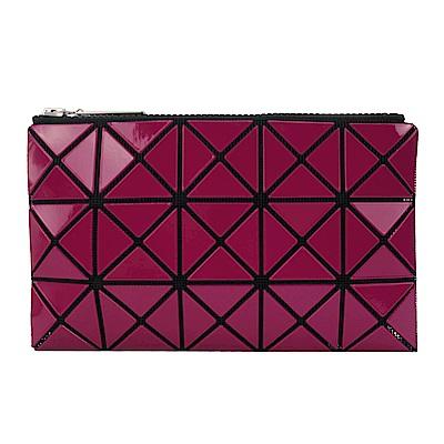ISSEY MIYAKE 三宅一生BAOBAO 3x5幾何方格長型亮面零錢手拿包(紫紅)