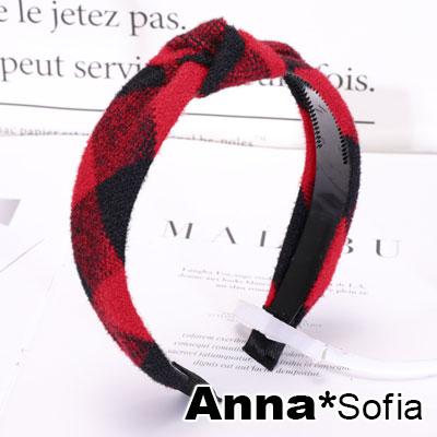 【2件7折】AnnaSofia 菱格呢絨中央結 韓式寬髮箍(紅黑系)