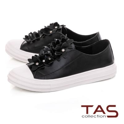 TAS優雅飾花休閒鞋-溫暖黑