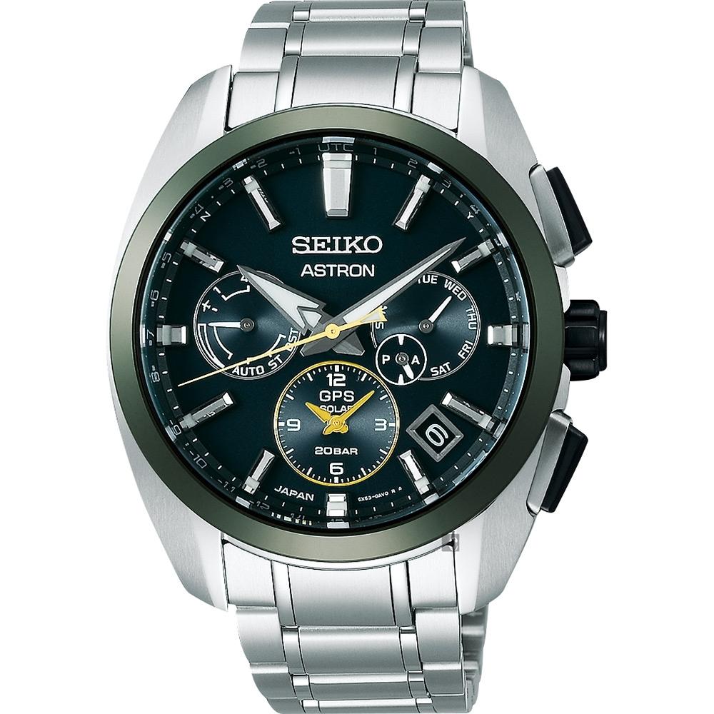 SEIKO 精工 Astron 限量綠陶瓷太陽能GPS鈦金屬手錶-42.8mm (SSH071J1/5X53-0BA0G)