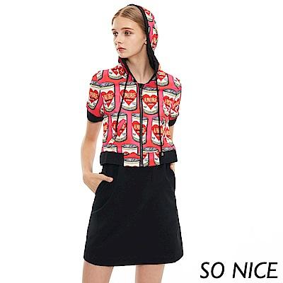 SO NICE普普風假兩件休閒洋裝
