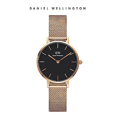 DW 手錶 官方旗艦店 28mm玫瑰金框 Petite 香檳金米蘭金屬錶