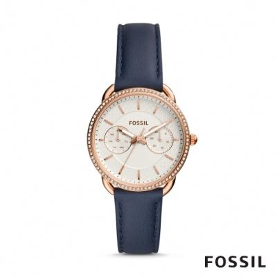 FOSSIL TAILOR 深藍鑲鑽多功能皮革女錶