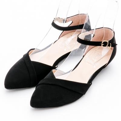 River&Moon平底鞋-優雅V口繫踝尖頭平底鞋 黑