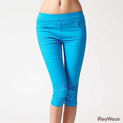 KeyWear奇威名品    低調奢華細緻印花七分褲-水藍色